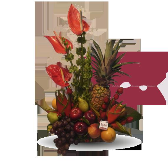 Hawai - Arreglos frutales para hombre, arreglos frutales sin chocolate, canastas de frutas, arreglos con flores y frutas