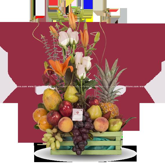 Arreglo frutal Quito a domicilio, arreglos frutales sin chocolate, canastas de frutas, arreglos con flores y frutas