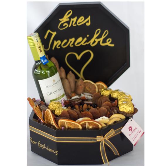 regalos para hombres en quito, arreglos de frutos secos con vino